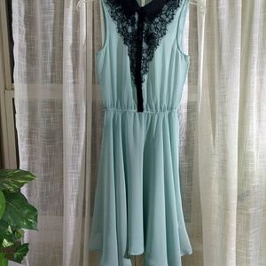 Studio Y size XS sheer Dusty blue dress with black